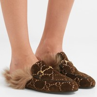GUCCI Princetown horsebit-detailed shearling-lined logo-jacquard slippers