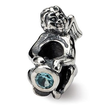 Sterling Silver December CZ Birthstone, Angel Bead Charm