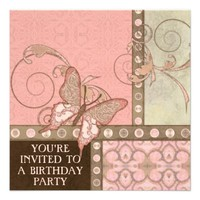 Butterfly Scroll Damask Lace Swirl Dot Birthday