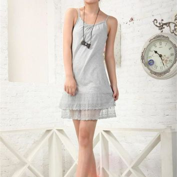 Europe and the United States hot sale lace harness women loose large size lace stitching sexy harness dress
