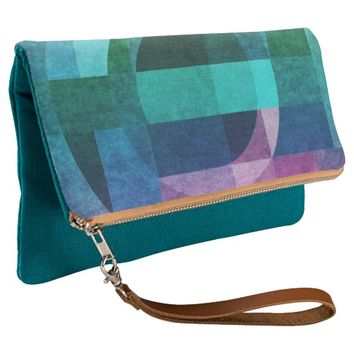 Geometric abstract colorful circle textured clutch
