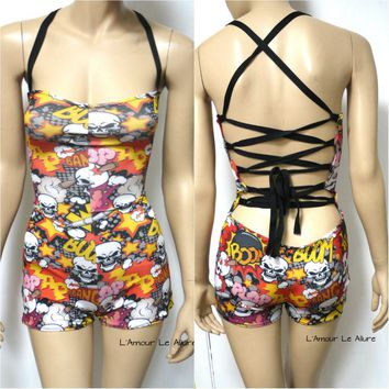 Boom Skull Spandex Jumper Monokini Swimsuit Bathing Suit Rave Dance Romper