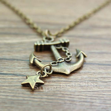The Anchor Necklace Nautical Necklace the bronze star charm and Necklace - Sweet Anchor - gift to girlfriend and BFF
