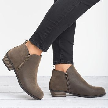 Zoey Zipper Ankle Booties