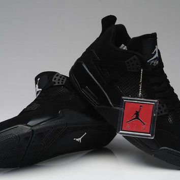 DCCKL8A Nike Air Jordan Retro 4 IV All Black AJ4 Discount Men Women Sports Basketball Shoes Sale Online