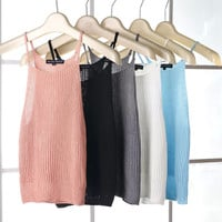 Vintage High Rise Crop Top Sleeveless Knit Spaghetti Strap Vest Slim Strap [6651190849]