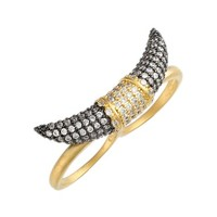 Women's Freida Rothman Pave Horn Two-Finger Ring - Gold/ Gunmetal/ Clear