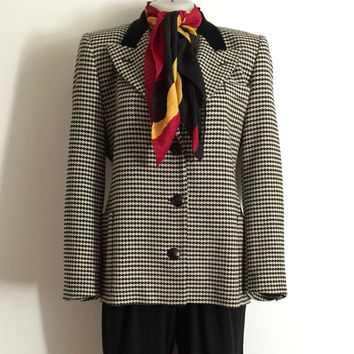 ESCADA!!! Vintage 1990s 'Escada' black and white wool houndstooth jacket with front patch pockets and velvet collar / Size 36