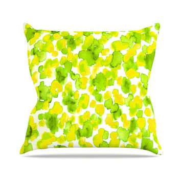 "Ebi Emporium ""Giraffe Spots - Lemon Lime"" Green Yellow Outdoor Throw Pillow"