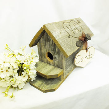 WeddinG Gift Card Box Birdhouse- Rustic Wedding -Burlap Wedding - Country Wedding Decor