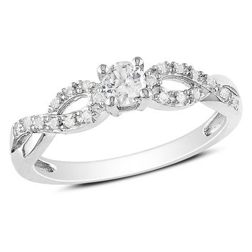 1/10 Carat Diamond & 1/4 Carat Created White Sapphire Ring in Sterling Silver