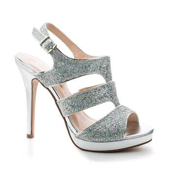 Kimi25 Silver Metallic By Blossom, Sling back Dazzling Glitter Cluster Cut Out Strappy Stiletto Heel