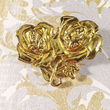 Vintage Rose Brooch, Flower Brooch, Vintage Jewelry