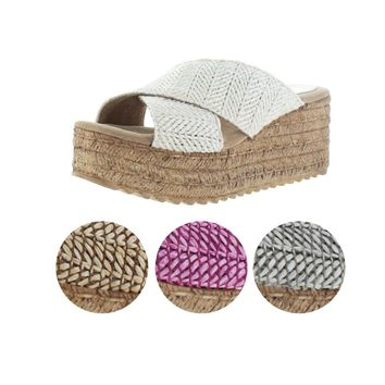 Sbicca Kareina Women's Platform Wedge Slide Woven Sandals Handmade USA