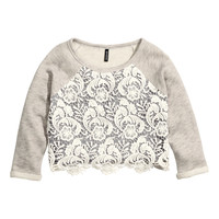 H&M - Short Sweatshirt - Gray - Ladies