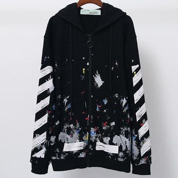 OFF-WHITE autumn and winter tide brand fireworks printing men and women zipper hooded sweater