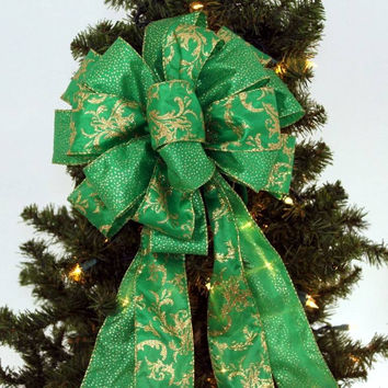 Emerald Green Gold Sparkle Christmas Bow