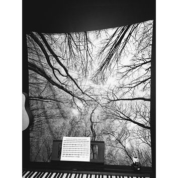 Trees Looking Up Black and White Sky Wall Tapestry Yoga Meditation Wall Hanging