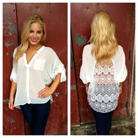 White Hi Low Blouse with Lace Back