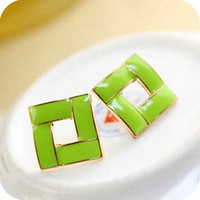 1pcs new arrival fashion design Chic Candy Color Square Stud Earrings