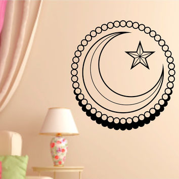 Star and Crescent Words Quotes Vinyl Wall Decal Sticker Art Graphic