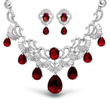 Red CZ Tear Ruby Statement Necklace Earring Set Silver Plated