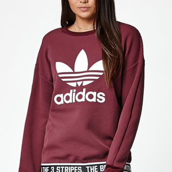 adidas Trefoil Textured Crew Neck Sweatshirt at PacSun.com