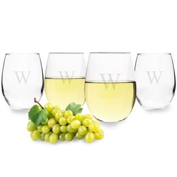 Personalized Stemless 21 oz. Wine Glasses (Set of 4)
