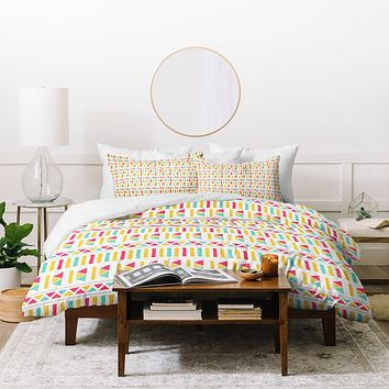 Allyson Johnson Super Bright Aztec Duvet Cover