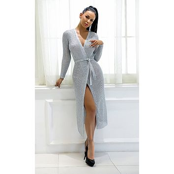Holding Tight Silver Long Sleeve Sweater Knit Cross V Neck Wrap Casual Midi Dress