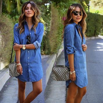 Autumn 2016 new fashion women blue denim dress casual loose long sleeved T shirt dresses straight dress plus size free shipping