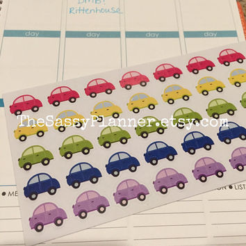 FREE SHIPPING C6 Carpool oil change car payment stickers for Erin Condren Life Planner/Plum Paper Planner - set of 40
