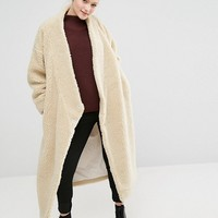 Monki Oversized Shearling Maxi Coat at asos.com