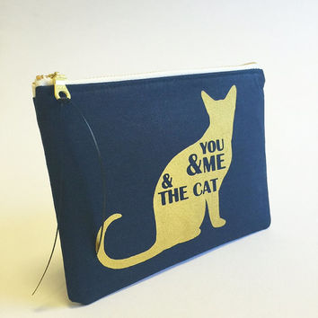 Gold cat print, gold cat quotes, cute cat, kittens, zipper pouch, gold bag, gold pencil cases, gold accessories, animal prints, cat quotes