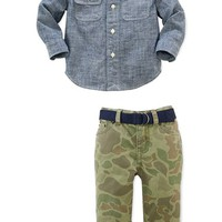 Ralph Lauren Chambray Shirt & Camouflage Pants (Baby Boys)