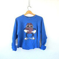 Vinage cut off California Raisin sweatshirt blue pullover Grunge 80s sweater Hipster Punk Tomboy