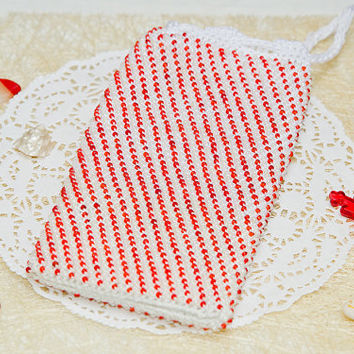 Red and white phone case Ready to ship Beaded iphone pouch Crochet phone case Beaded phone bag Iphone 7 case Samsung phone cover Unisex gift
