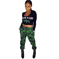 High Life Track Suit for Women - Weed Leaf Long Sleeve Top and Sweatpants
