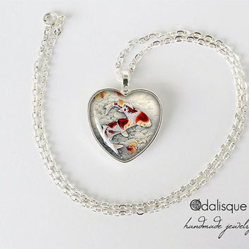 Japanese Koi Fish Pendant Asian Art Necklace Jewelry Birthday Gift Heart Glass Carp Pendant Handmade Gifts for her