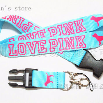 FREE SHIPPING ONE PC Blue Love Pink Keychain Lanyard for Key ID Holders Mobile Phone Neck Straps