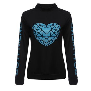 Casual Round Collar Long Sleeve Letter Print T-shirt for Ladies