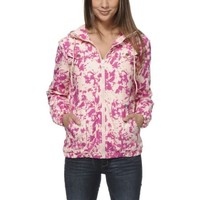Volcom Girls Enemy Lines Pink Tie Dye Windbreaker Jacket