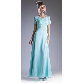 Mint Lace Bodice Short Sleeves A-line Long Bridesmaids Dress