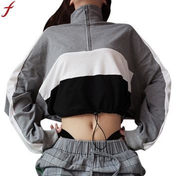 Women Zipper Sweatshirt 2018 Hoodie Long Sleeve Pullover Sweatshirt Patchwork Crop Top hoody sudaderas moletons femininos
