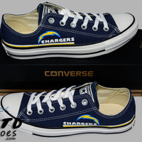 Hand Painted Converse Lo Sneakers. San Diego Chargers. Football. Superbowl. Handpainted shoes.