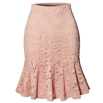LE3NO Womens High Waisted Floral Lace Flowy Ruffle A Line Midi Skirt