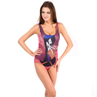 Purple Marceline Print Swimsuit