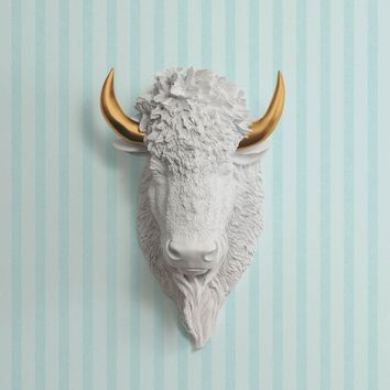 The Yellowstone | Large Buffalo Bison Head | Faux Taxidermy | White + Bronze Horns Resin