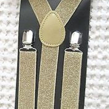 Shiny Gold Adjustable Bow tie & Gold Glitter Adjustable Suspenders-Brand New!!