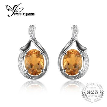 JewelryPalace Oval 2.3ct Yellow Genuine Citrine Stud Earrings Solid 925 Sterling Silver 2016 New Fashion Fine Jewelry For Women
